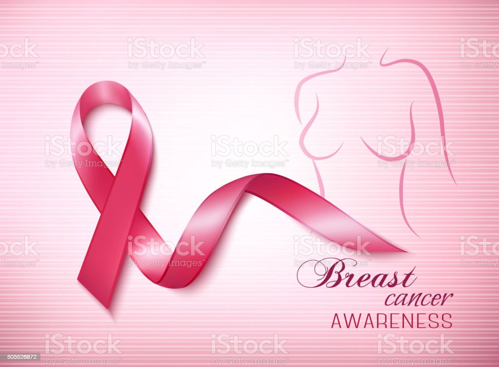 Breast cancer pink background an awareness ribbon and a stetho vector art illustration