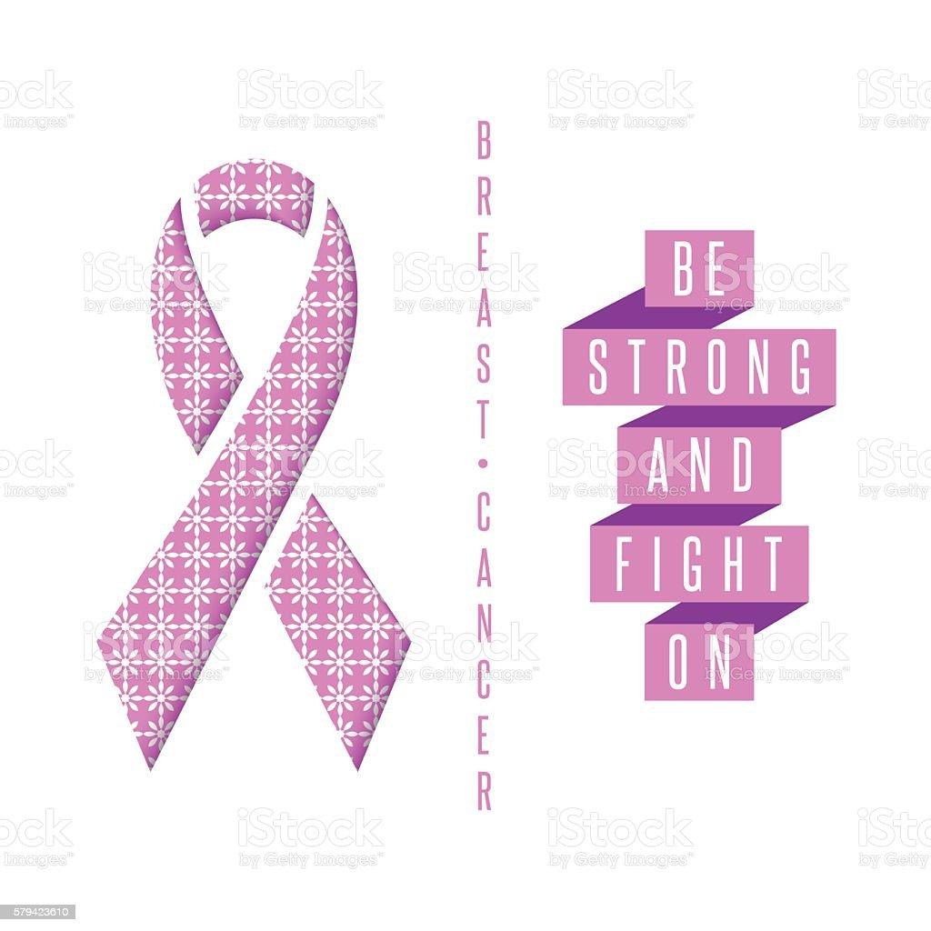 Breast cancer poster pink ribbon text slogan, mockup medical banner vector art illustration