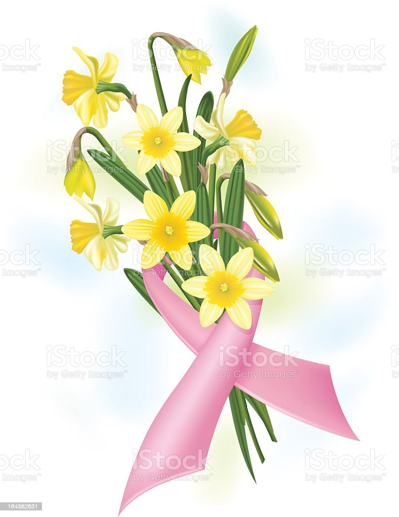 Breast Cancer Ribbon & Daffodils royalty-free stock vector art