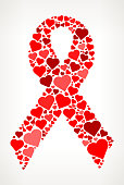 Breast Cancer Ribbon Red Hearts Love Pattern