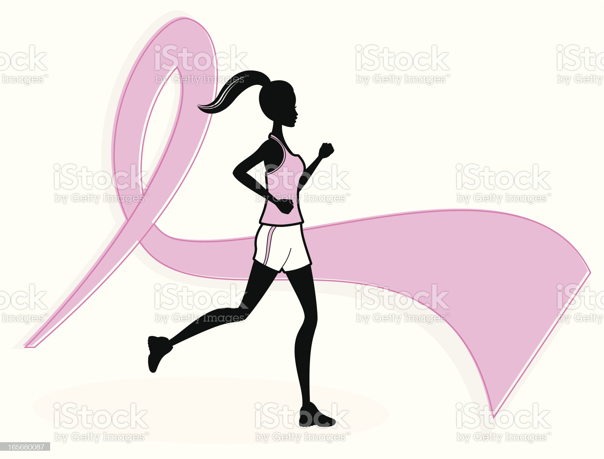 Breast Cancer Runner royalty-free stock vector art