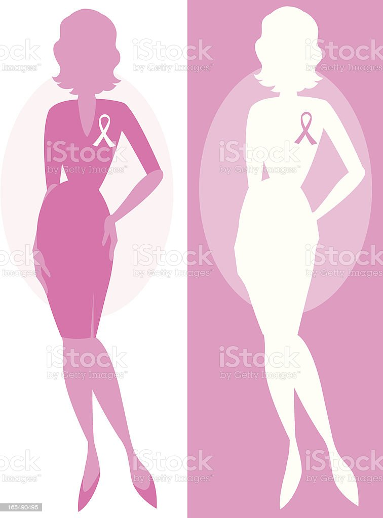 Breast Cancer silhouettes royalty-free stock vector art