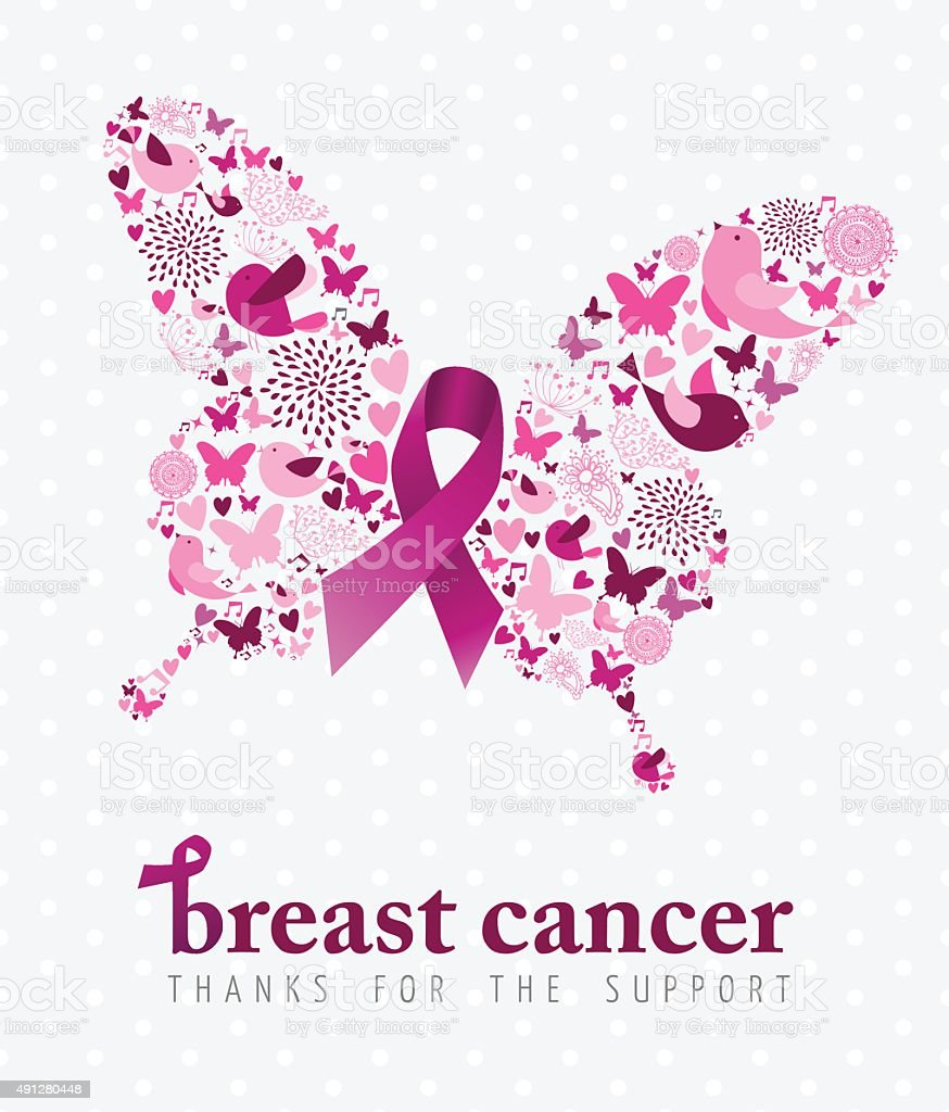 Breast cancer support poster pink ribbon butterfly vector art illustration