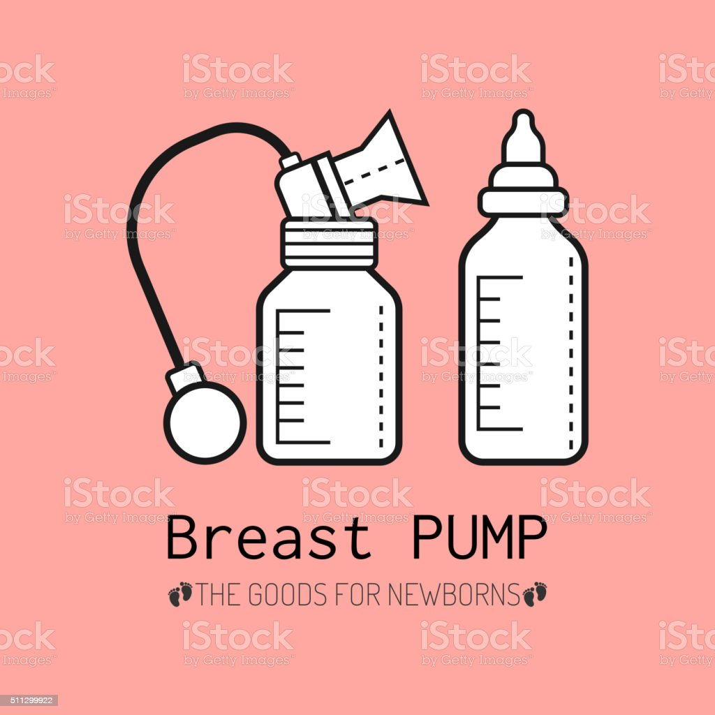 Breast pump, breastfeeding, bottle baby, products for newborns babies vector art illustration