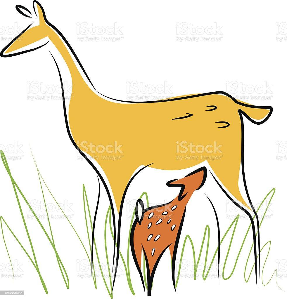 Breastfeeding deer royalty-free stock photo