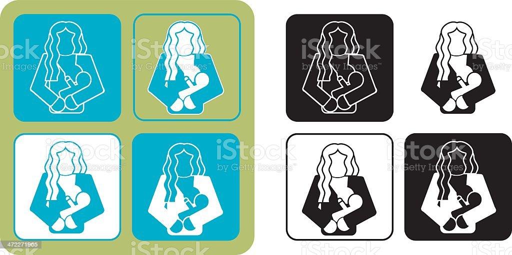 Breastfeeding Icons vector art illustration