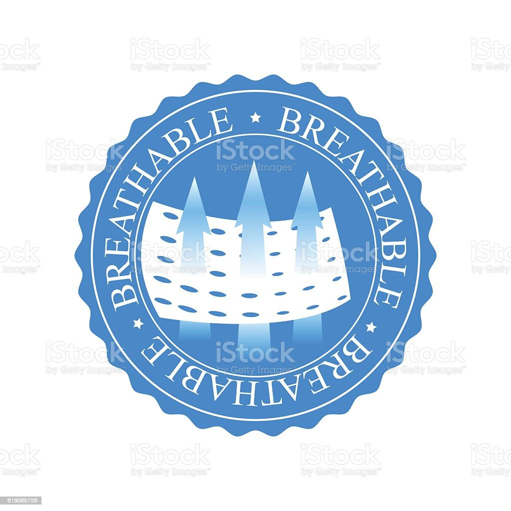Breathable icon. Sign for clothing, diapers, snitary napkins, other materials vector art illustration