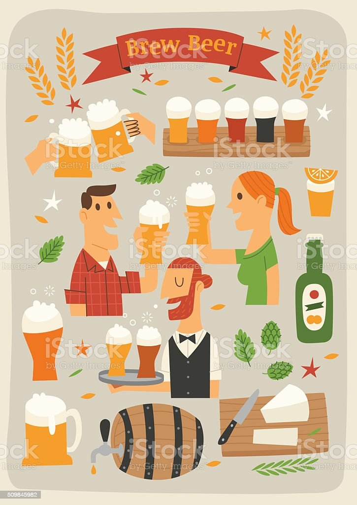 Brew Beer vector art illustration