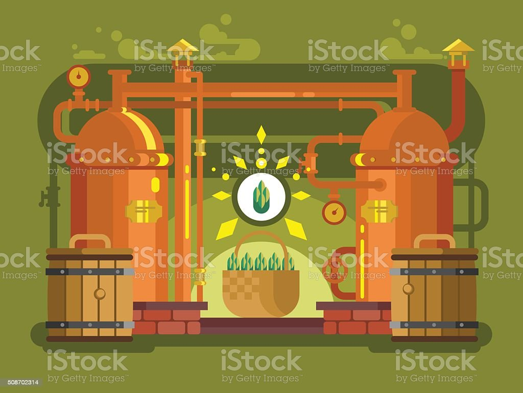 Brewery beer design flat vector art illustration