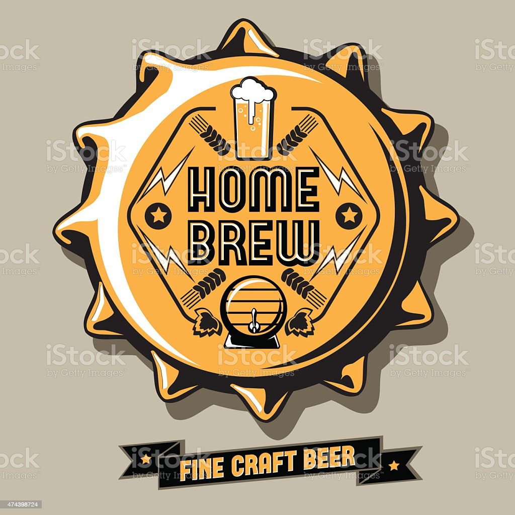 Brewery emblem on bottle cap vector art illustration