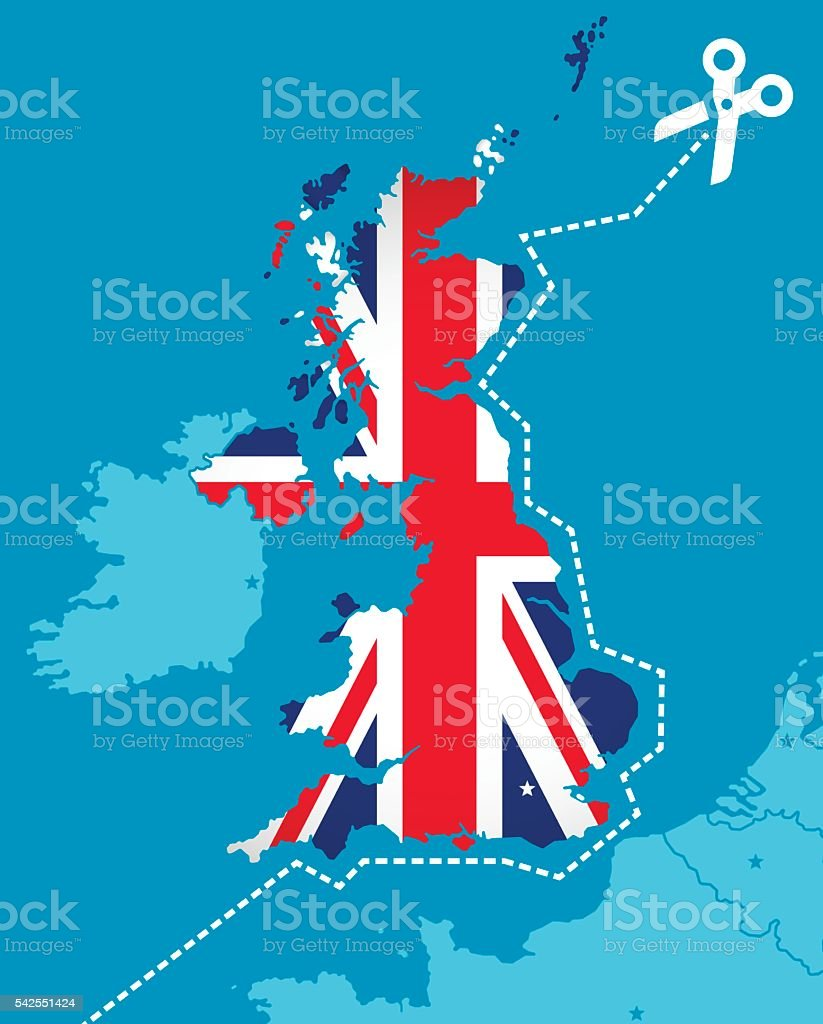 Brexit Britain exiting the European Union concept vector art illustration