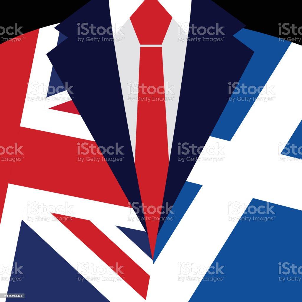 Brexit concept. British flag. Scottish flag. Scottish referendum. vector art illustration