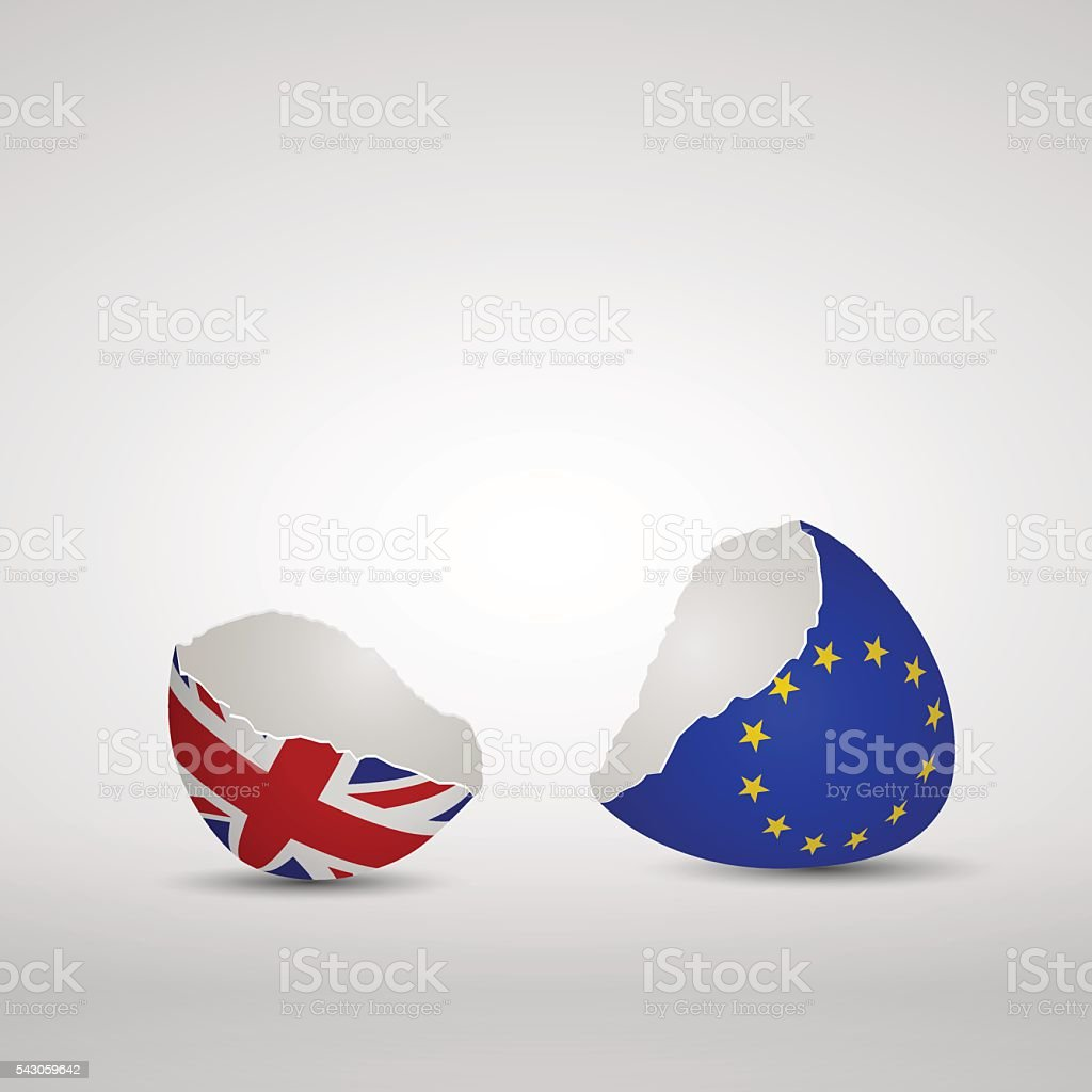 Brexit Cracked eggs vector art illustration