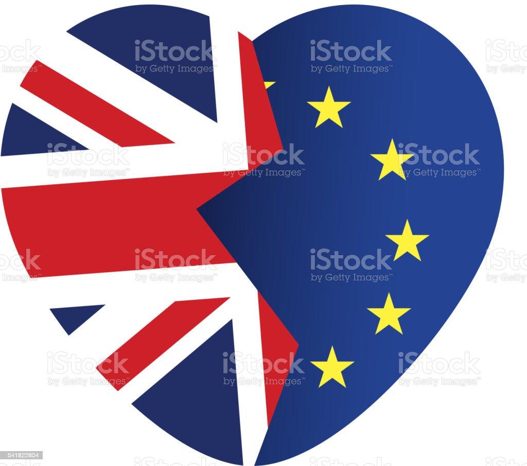 Brexit icon. British flag. EU flag. Broken heart. vector art illustration
