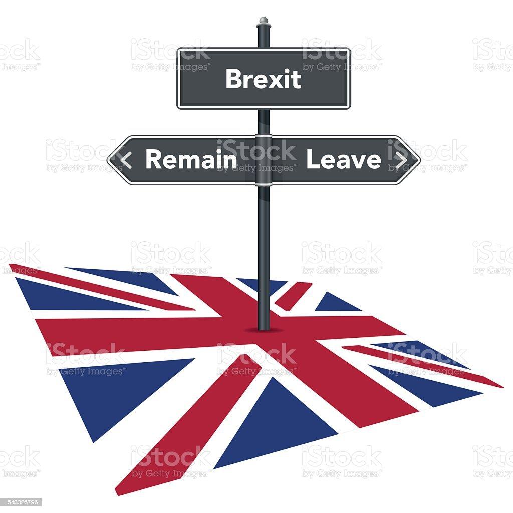 Brexit referendum road sign and UK flag vector art illustration
