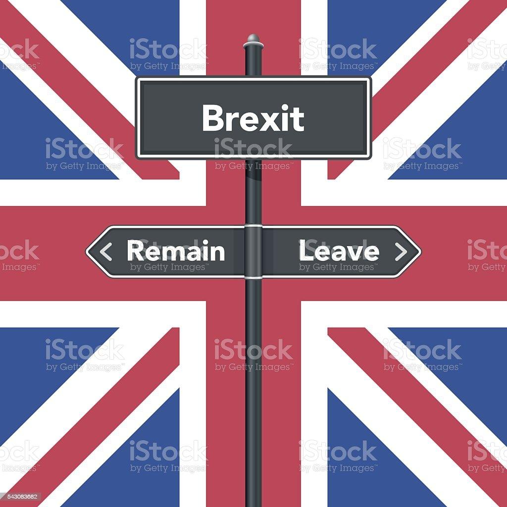 Brexit road sign vector art illustration