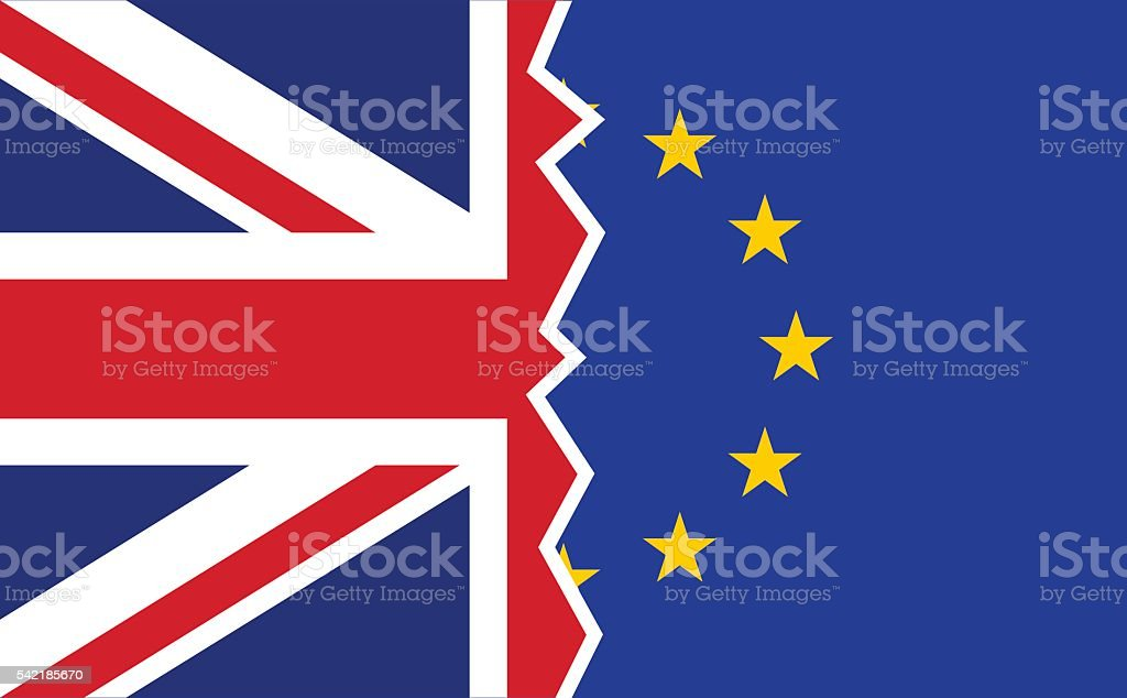 Brexit UK EU referendum flags vector art illustration