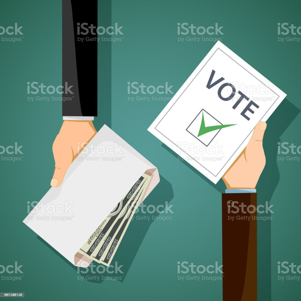 Bribery of voters in elections. Man holds an envelope with money in his hand vector art illustration