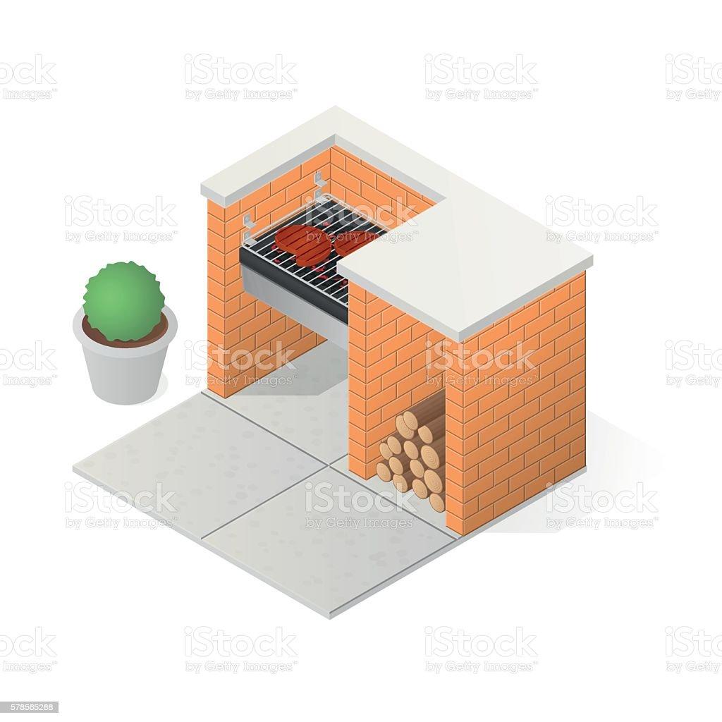 Brick BBQ grill. vector art illustration