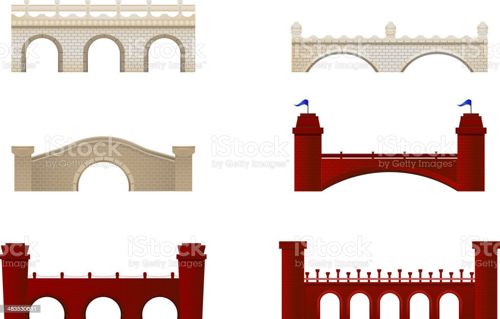Brick Bridge Arch Architecture Building Monument Red and White royalty-free stock vector art
