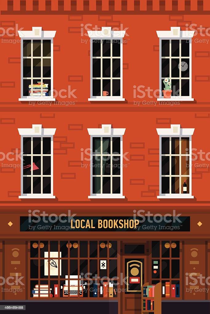 Brick building facade with antiquarian book shop vector art illustration