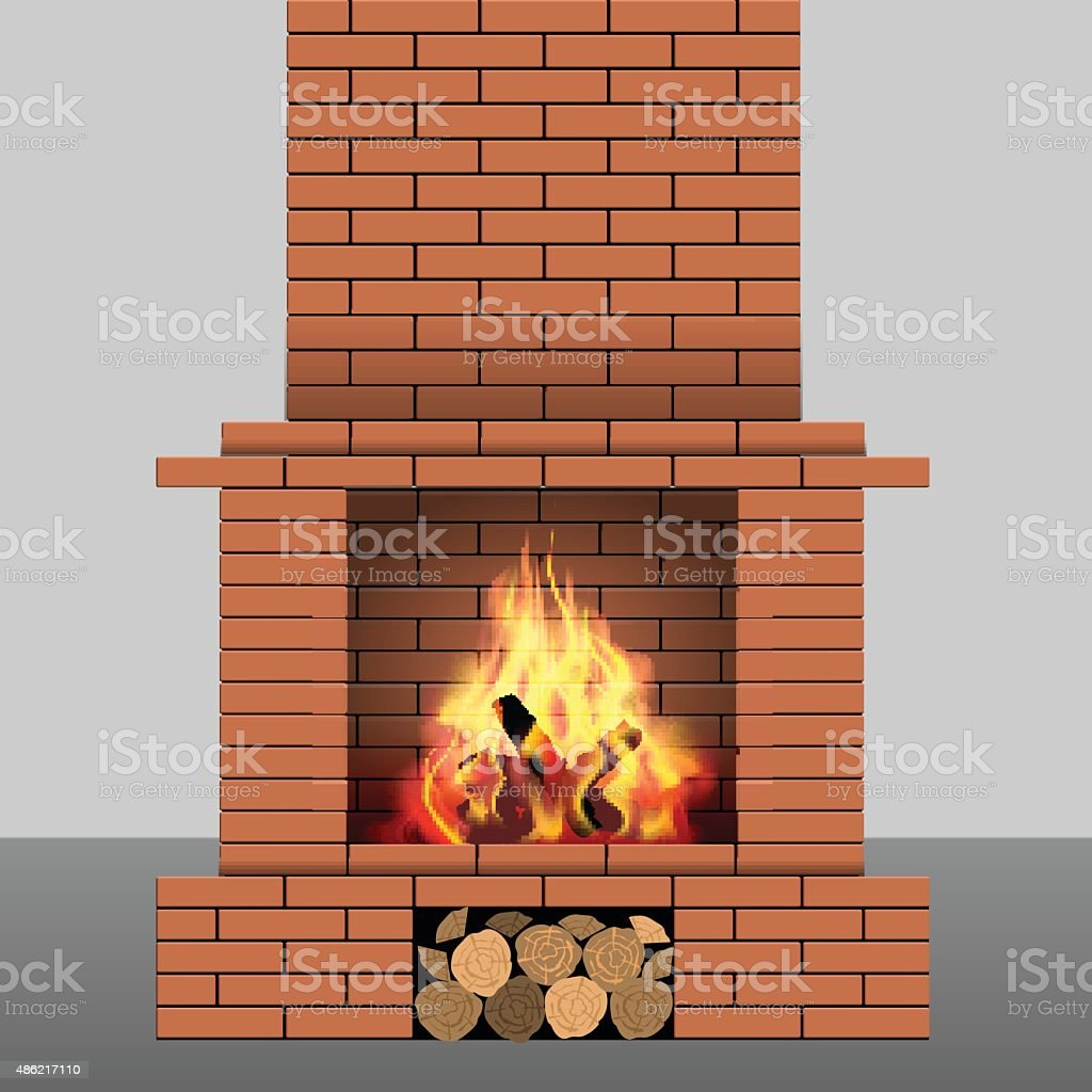 Brick fireplace vector art illustration