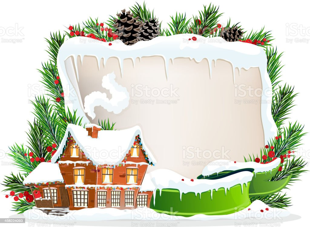 Brick house and Christmas wreath royalty-free stock vector art
