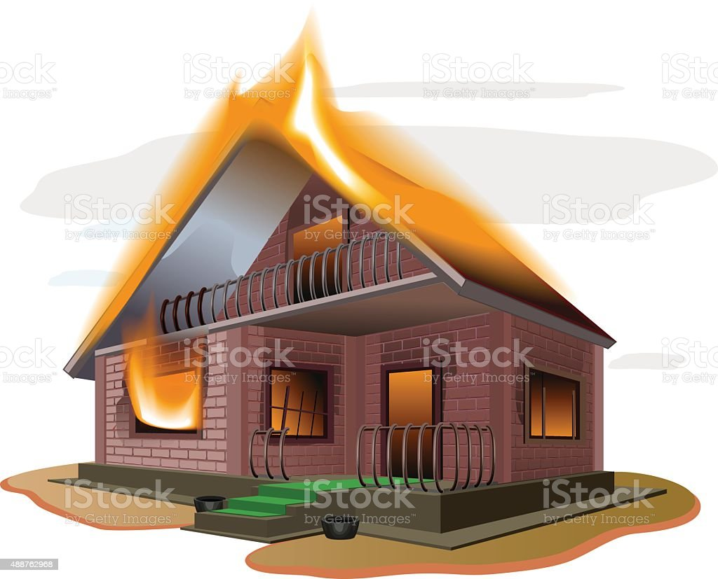 Brick house burns. Cottage fire. Vacation home. Property insurance vector art illustration