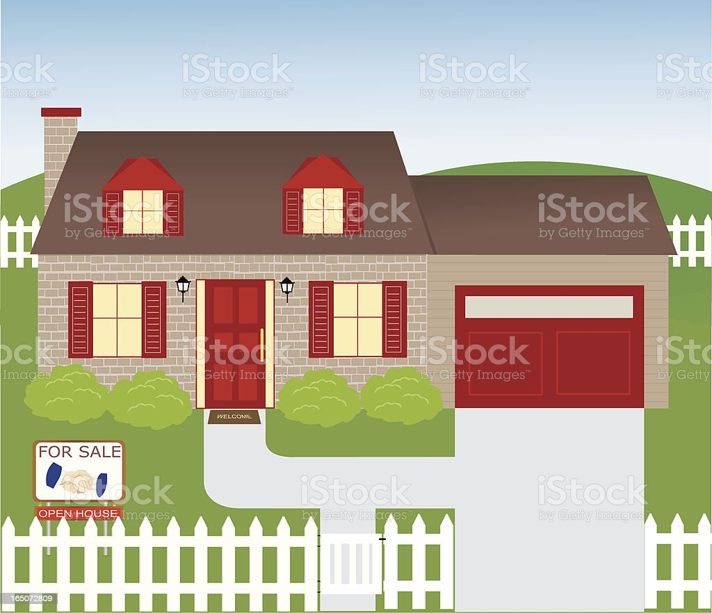 Brick House vector art illustration