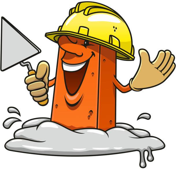Masonry Business Clip Art : Concrete construction worker cartoon job clip art vector
