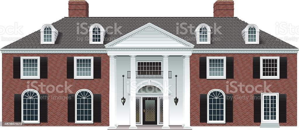 Brick Manor House vector art illustration