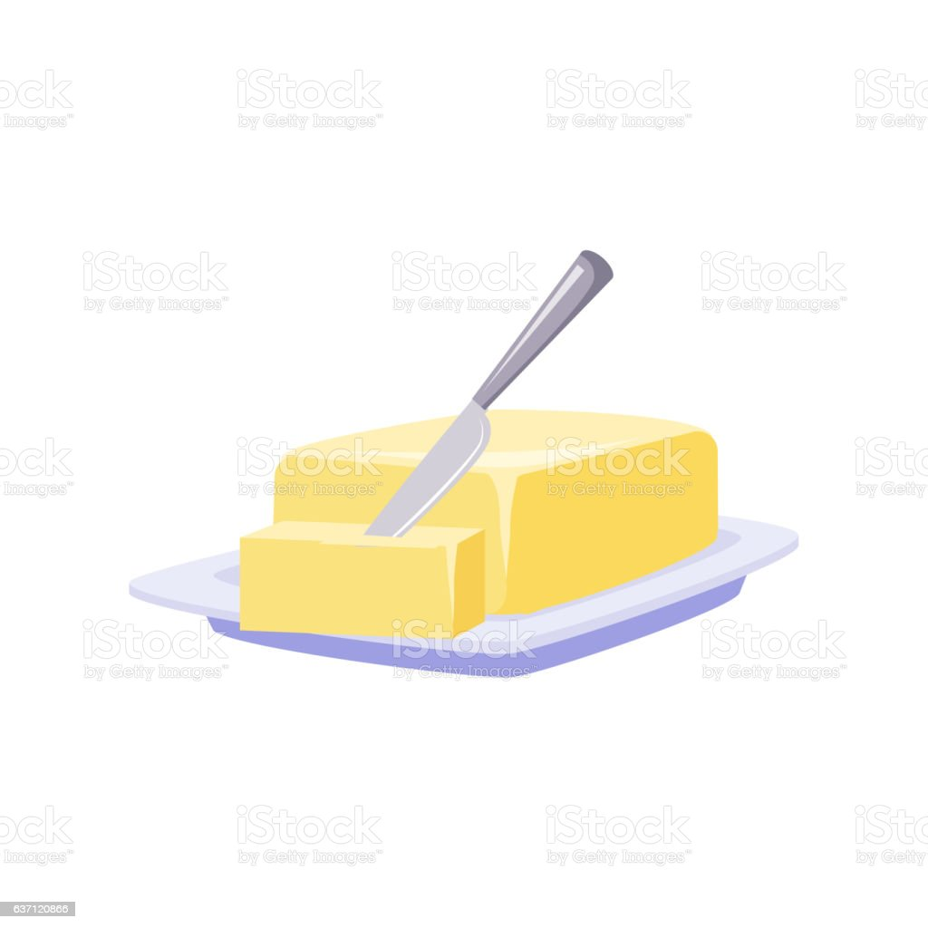 Brick Of Butter On Plate With Knife, Milk Based Product vector art illustration