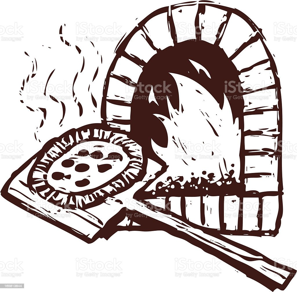 brick oven pizza royalty-free stock vector art