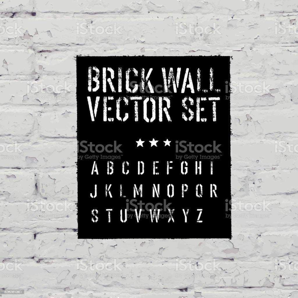 Brick traced texture, stencil alphabet and grunge rectangle. Thr vector art illustration