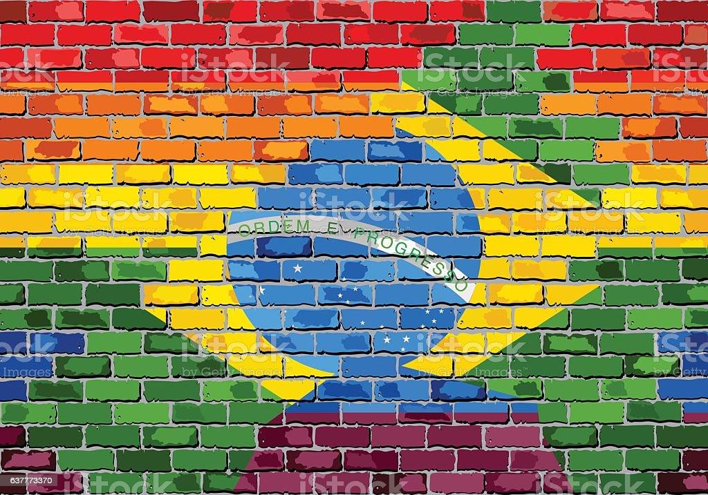 Brick Wall Brazil and Gay flags vector art illustration