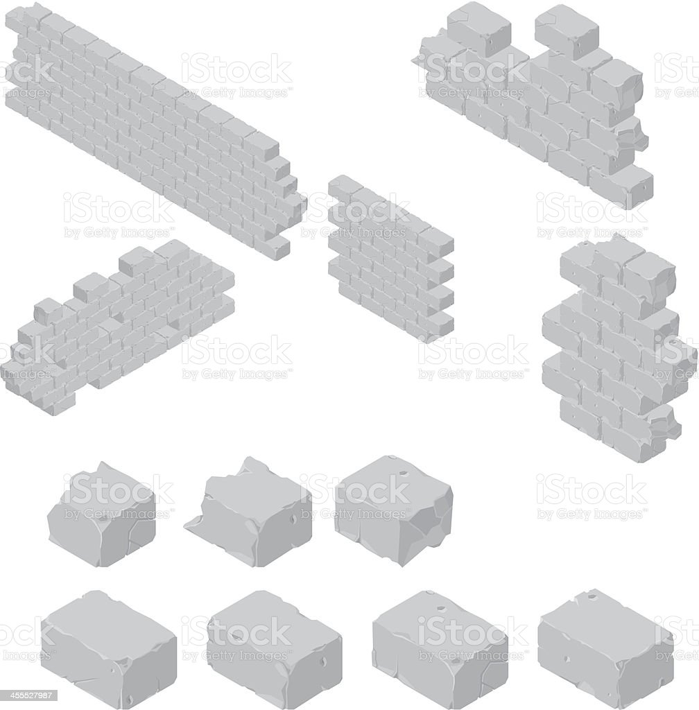 Brick Wall Construction vector art illustration