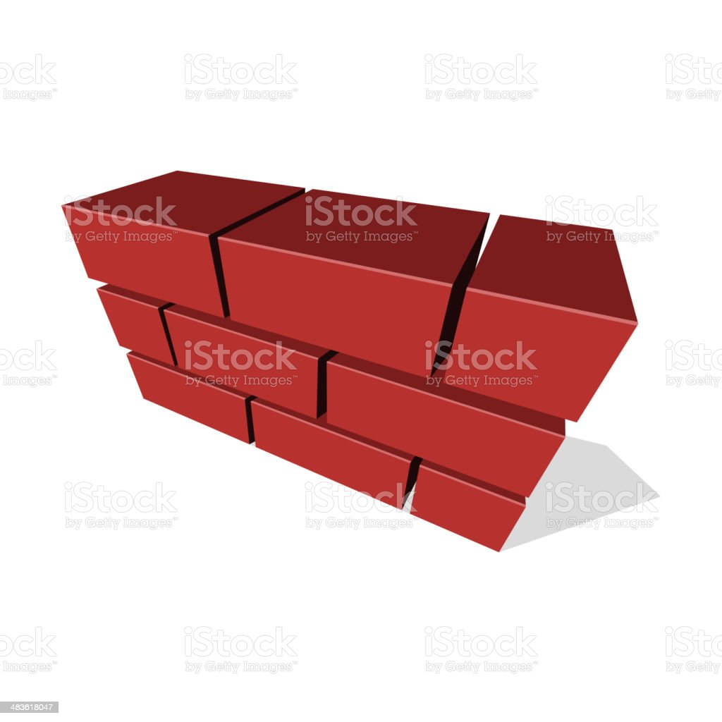 Brick Wall Icon 3D on White Background. Vector royalty-free stock vector art