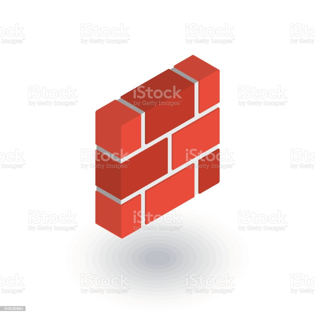 brick wall isometric flat icon. 3d vector vector art illustration
