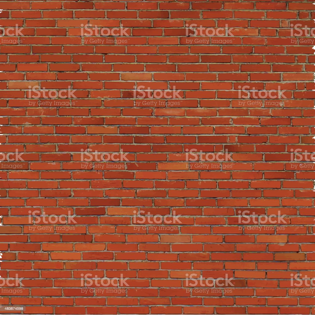 Brick wall, red relief texture with shadow vector art illustration