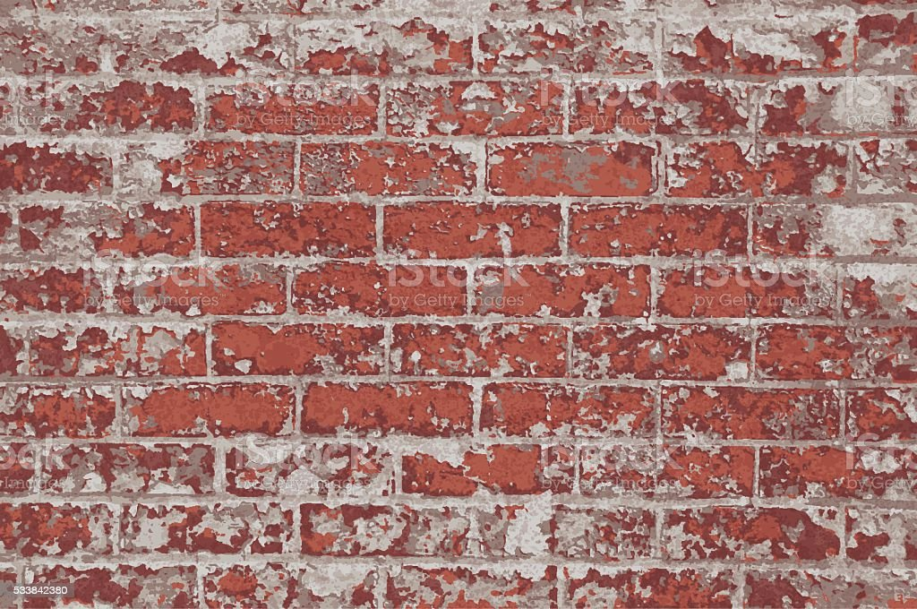 Brick Wall red rustic grunge rough textured background vector art illustration