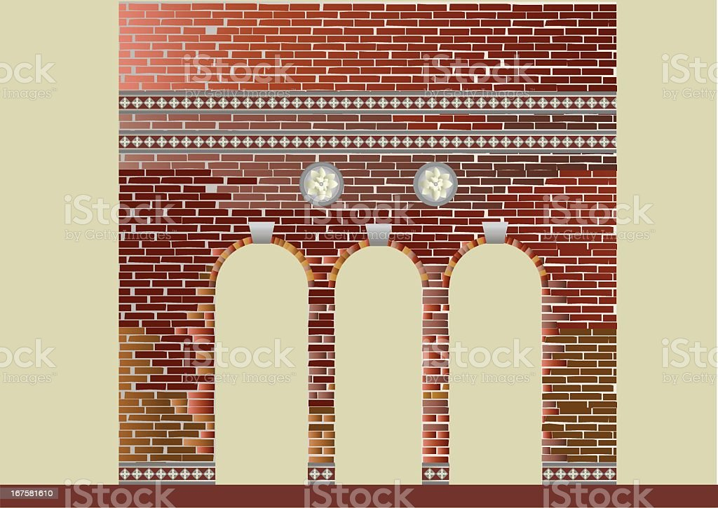 Brick Wall with decoration royalty-free stock vector art