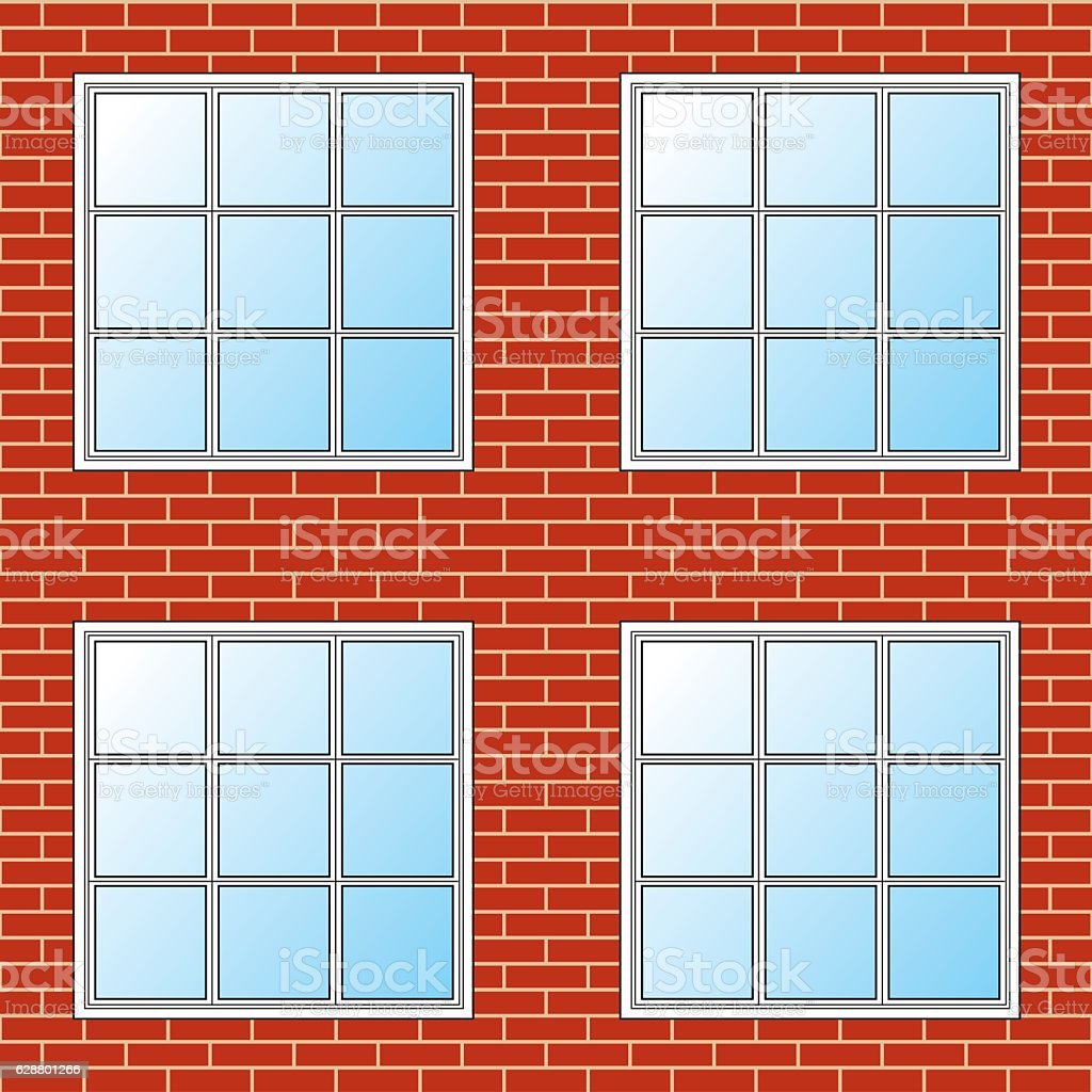 Brick Wall With Windows - Seamles vector art illustration