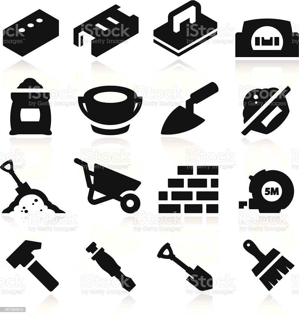 Bricklayer Icons vector art illustration