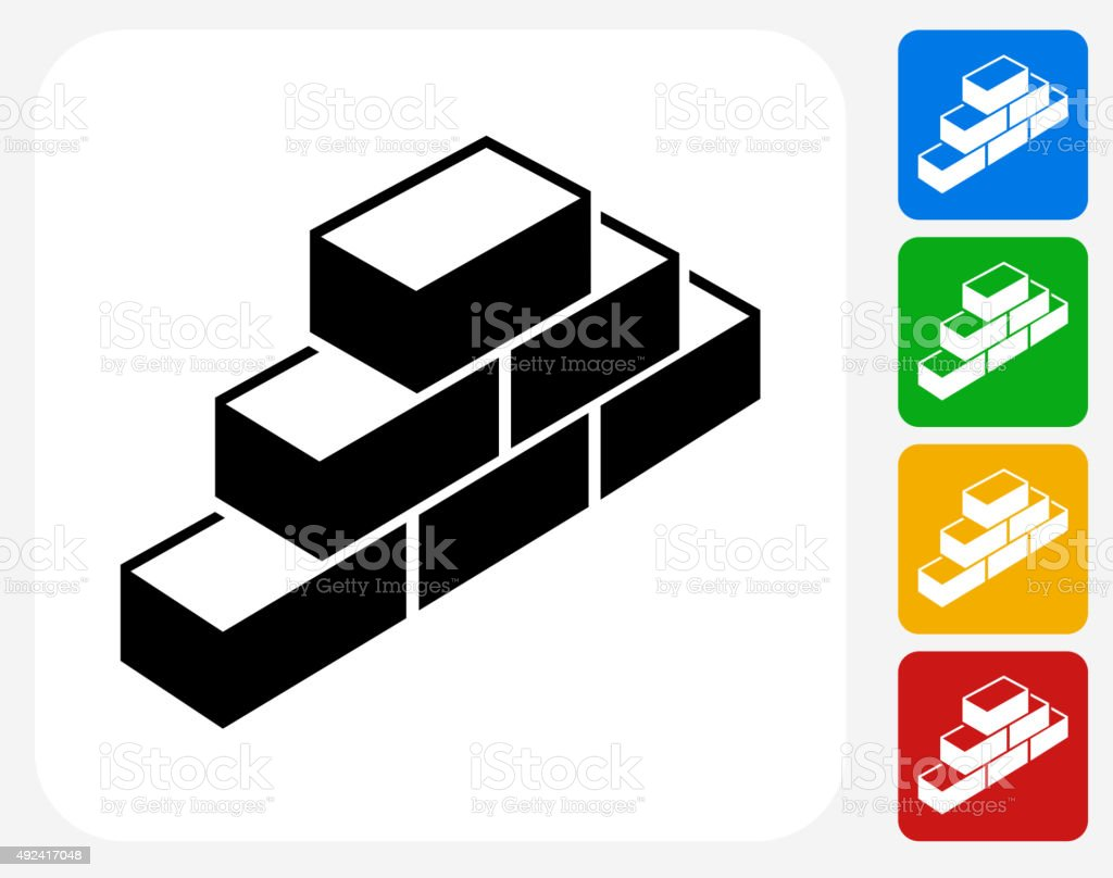 Bricks Icon Flat Graphic Design vector art illustration