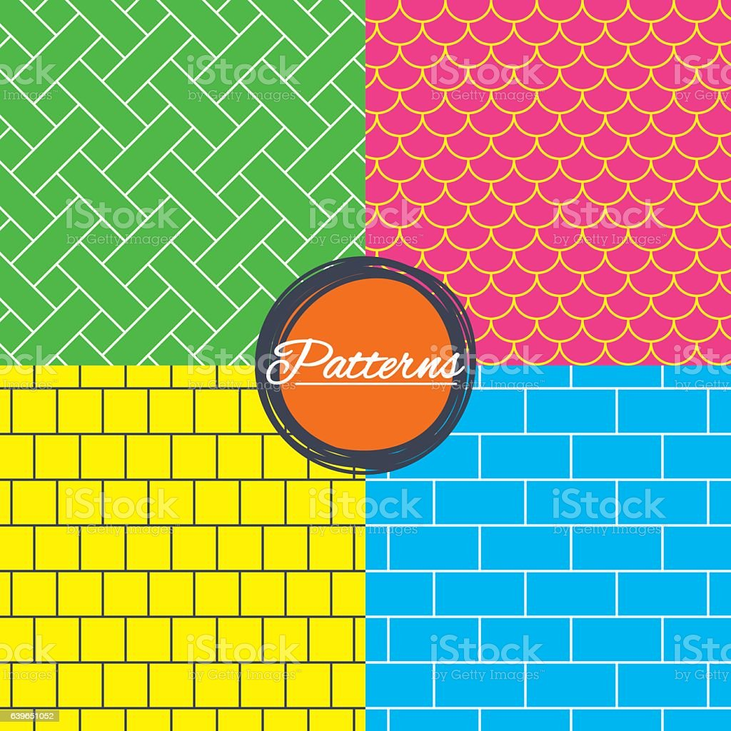 Bricks, tile roof and mosaic seamless textures. vector art illustration