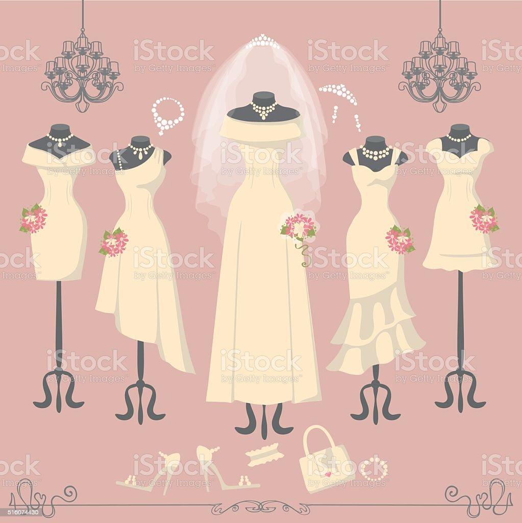Bridal dresses on mannequin.Fashion background vector art illustration