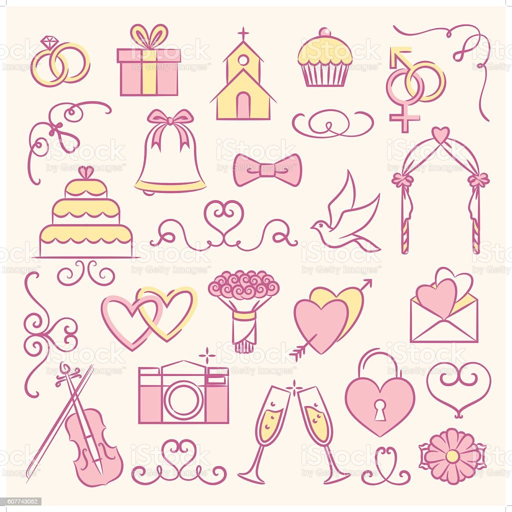 bridal icon set 2 vector art illustration
