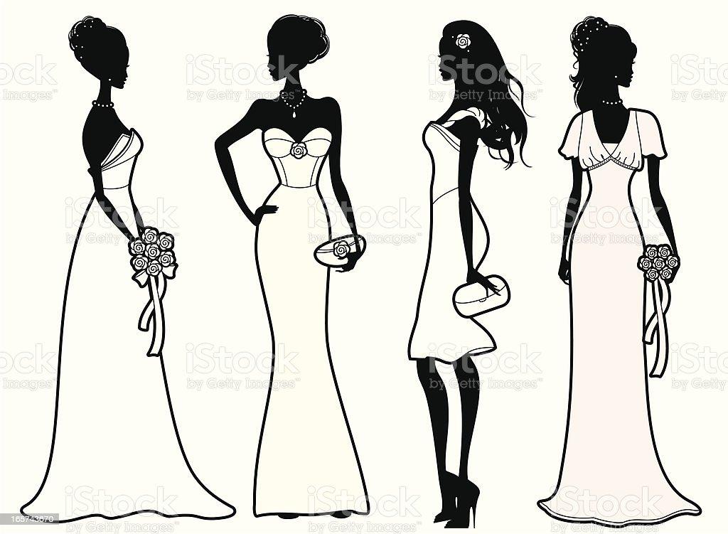 Bridal Outfits vector art illustration