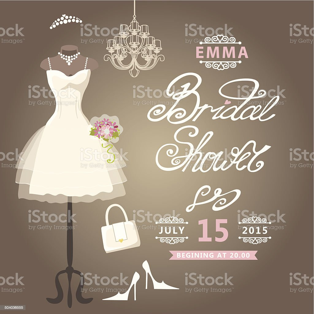 Bridal Shower card.Cute wedding invitation vector art illustration