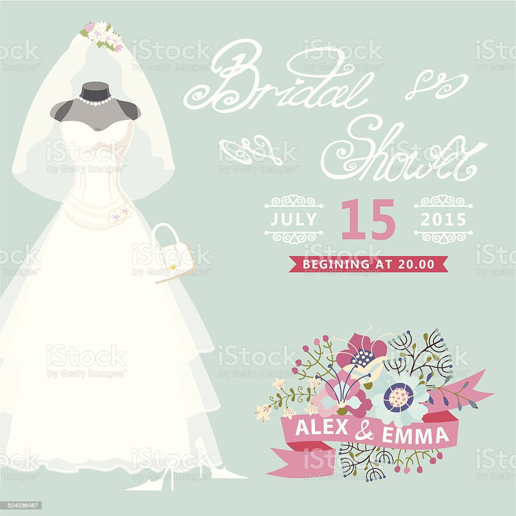 Bridal Shower card.Vintage wedding dress with floral elements vector art illustration